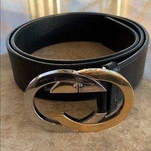 Vintage Gucci Black Leather Belt 34